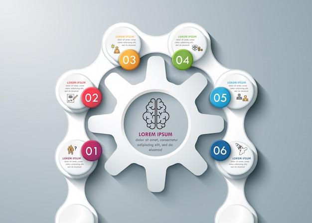 Processo de pensamento com rodas de engrenagem e correntes infográficos de negócios