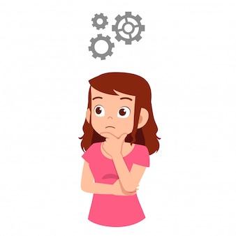 Processo de pensamento de mulher bonita sobre ótima idéia