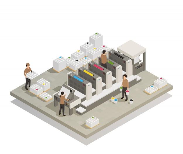 Processo de produção de impressão isométrico