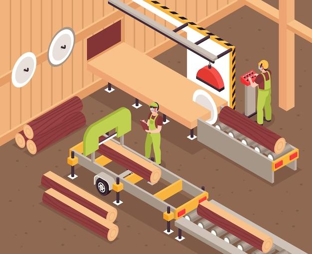 Processo de produção de móveis de madeira com toras na esteira e trabalhadores da fábrica. ilustração 3d isométrica
