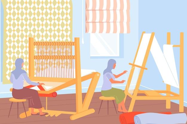 Processo de produção de tapetes com mulheres trabalhando em teares planos