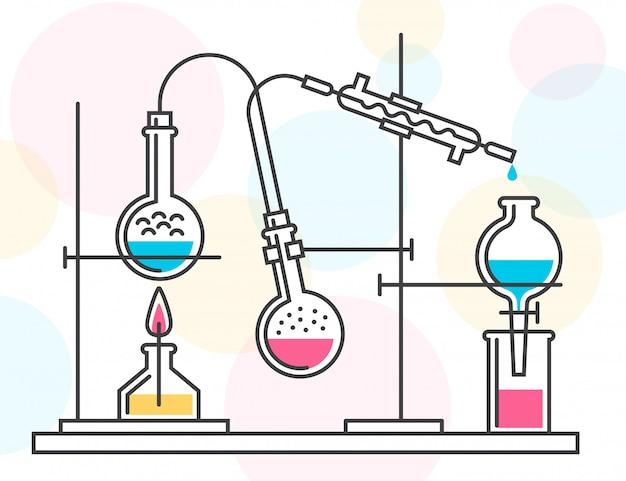 Processo de reação química no laboratório científico, consistindo em frascos e mangueiras