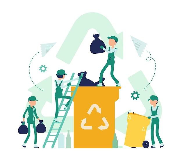 Processo de reciclagem, convertendo resíduos em material reutilizável