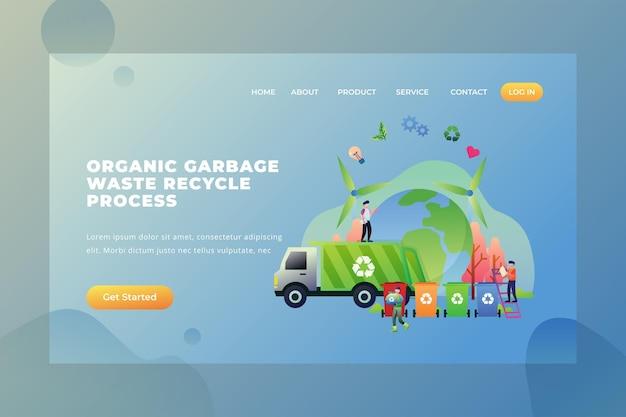 Processo de reciclagem de resíduos de lixo orgânico - página de destino do vetor