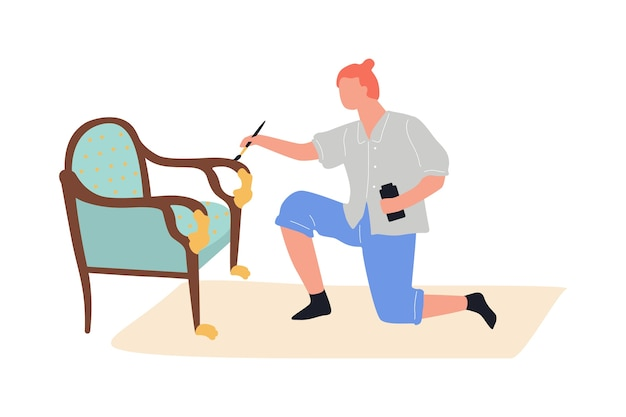 Processo de renovação de móveis. homem pintando a cadeira