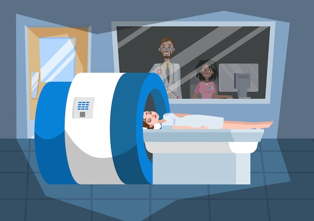 Processo de ressonância magnética. jovem deitada na máquina Vetor Premium