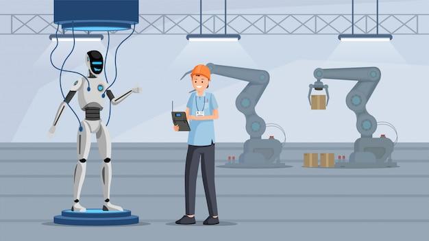 Processo de teste de robô plano