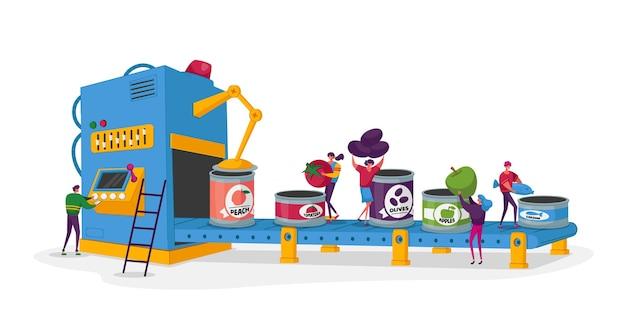 Processo de trabalho da fábrica de conservas frutas e vegetais enlatados minúsculos personagens colocam vegetais frescos nas latas