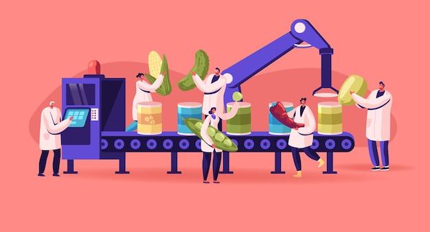 Processo de trabalho da fábrica de conservas. produção de vegetais enlatados. ilustração plana dos desenhos animados