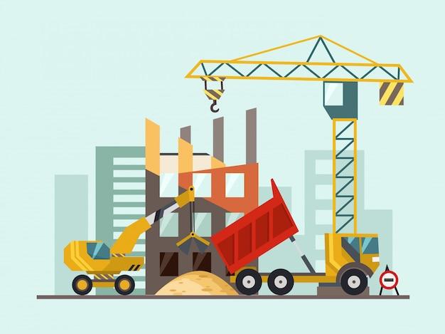 Processo de trabalho de construção com casas e máquinas de construção. ilustração vetorial