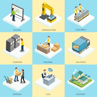 Processo de trabalho de logística em design plano 3d isométrico