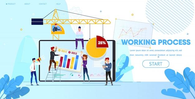 Processo de trabalho de pessoas fazendo design de página da web