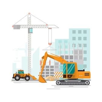 Processo de trabalho do canteiro de obras em construção
