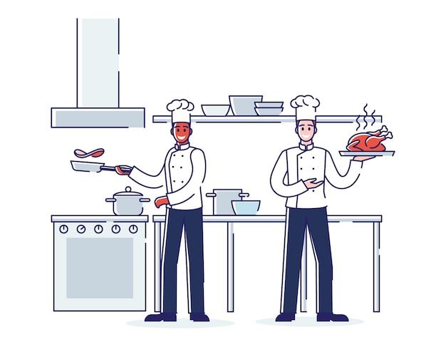 Processo de trabalho do restaurante, serviço e conceito de equipe.