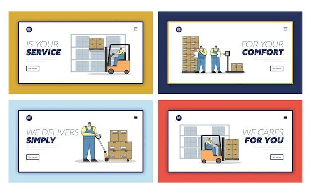 Processo de trabalho em armazém com pessoal de trabalho.