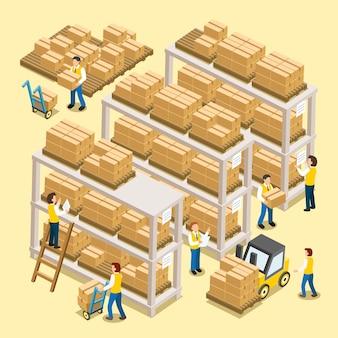 Processo de trabalho logístico em design plano 3d isométrico