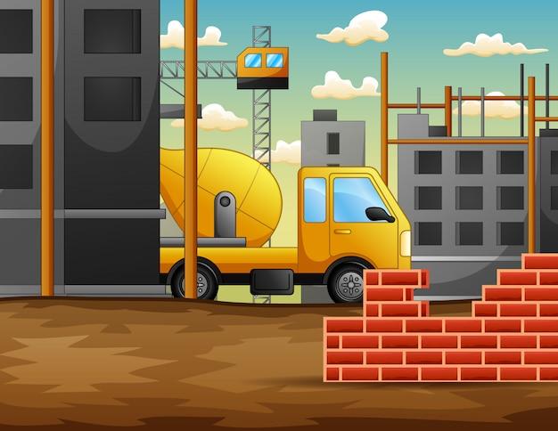 Processo de trabalho no canteiro de obras em construção com máquinas