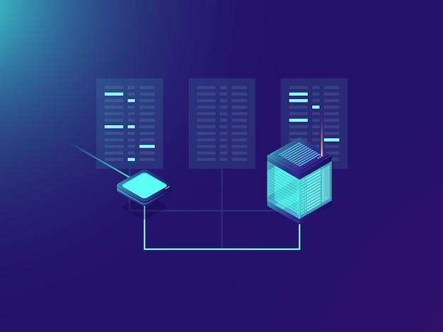 Processo de transferência de arquivos, processamento de big data, sala de servidores, data center