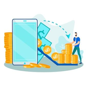 Processo de transferência de dinheiro e transação financeira