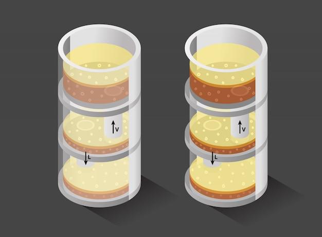 Processo dentro da coluna de destilação para produzir uísque - ilustração isométrica
