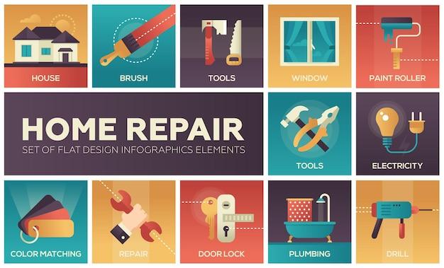 Processo e ferramentas de reparo em casa - um conjunto de ícones de design plano de vetor moderno com cores gradientes. escova, furadeira, serra, rolo de pintura, escada, janela, fechadura de porta, eletricidade, encanamento, combinação de cores