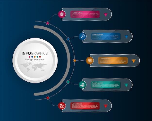 Processo empresarial timeline infográficos 6 etapas.