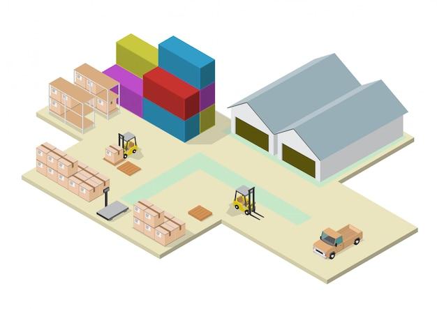Processo isométrico do armazém