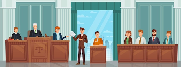 Processo judicial. audiência pública e procedimento criminal em tribunal com juízes, advogado e júri. conceito de vetor de interiores de sala de tribunal. advogado discursando para juiz, sentença de condenado