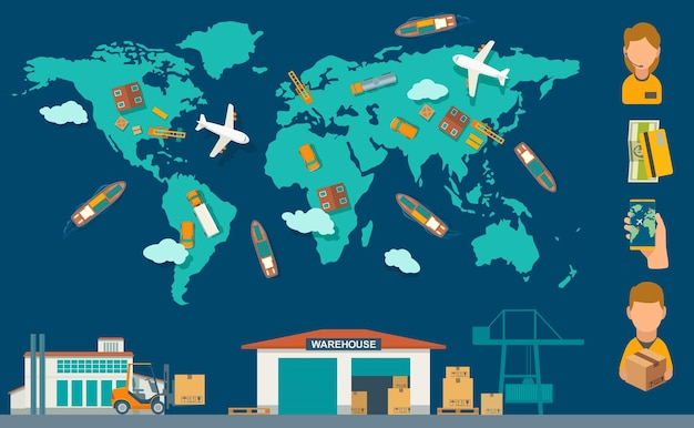 Processo logístico do conceito da fábrica ao armazém. mapa mundial de vista superior com navio, caminhão, avião e carro. ilustração em vetor cor plana para informação gráfica, web, negócios, banner, apresentações