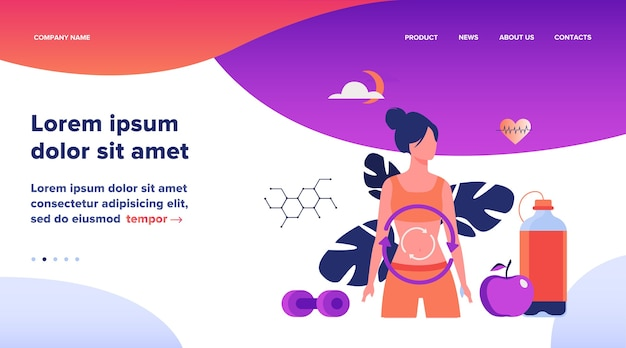Processo metabólico da mulher em dieta. sistema de digestão, energia alimentar, ilustração em vetor plana sistema hormonal. design de site ou página de destino de conceito de alimentação saudável