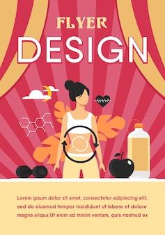Processo metabólico da mulher em dieta. sistema digestivo, energia alimentar, sistema hormonal, modelo de folheto plano