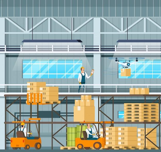 Processo moderno da tecnologia do armazém da fabricação