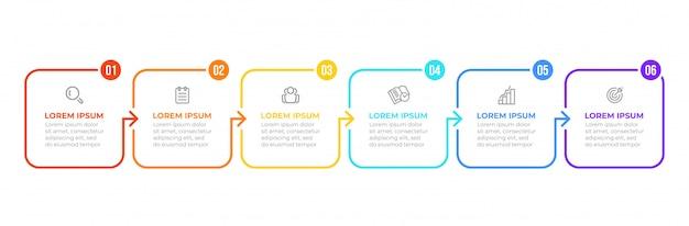 Processo plano de linha fina. infográfico de negócios com 6 opções, setas.