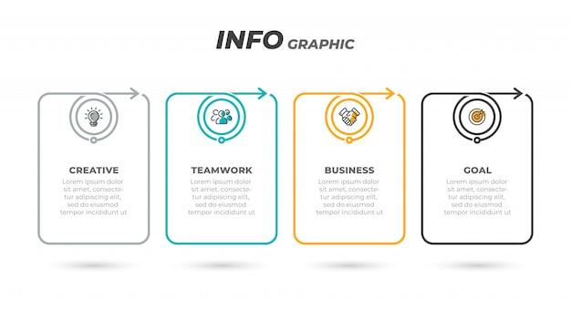 Processo plano de linha fina. rótulo de infográfico negócios com 4 etapas, opções, setas