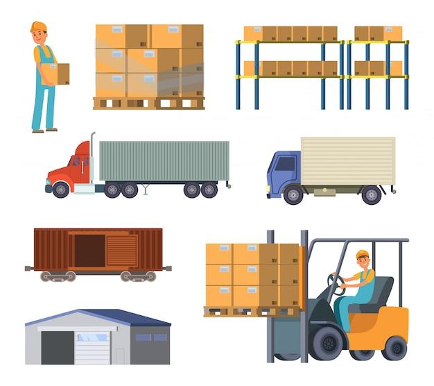 Processos de armazém e logística. trabalhador com pacotes.