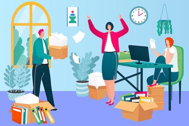 Processos de trabalho de prazo de trabalho de escritório, pessoas de negócios personagem juntos ilustração vetorial plana de papelada de trabalho, empregado de escriturário da empresa.