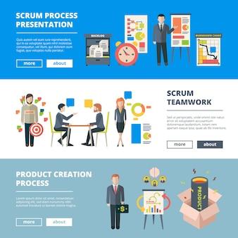 Processos scrum. trabalho em equipe agile sprints produção de software colaboração projeto gerenciamento de tempo banners horizontais. método de planejamento e trabalho, banner de metodologia de gerenciamento de projetos