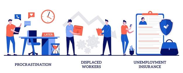 Procrastinação, deslocamento de trabalhadores, ilustração de seguro-desemprego com pessoas minúsculas