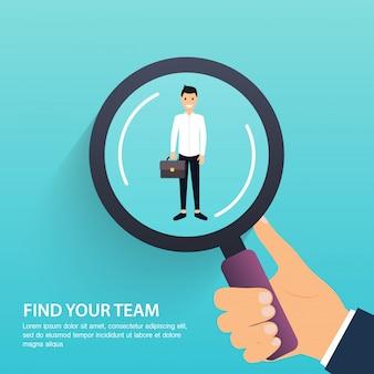 Procura de emprego e carreira. gestão de recursos humanos e caçador de cabeças. rede social, conceito de mídia. ilustração de negócios.