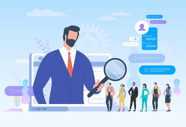 Procura de emprego. recrutamento. caça à cabeça na rede social