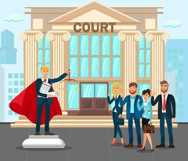 Procuradores no pátio da frente do tribunal
