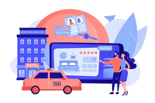 Procurando albergue, acomodação. pedindo táxi, táxi