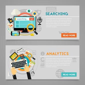 Procurando banner de conceito de analytics. composição quadrada, ilustração