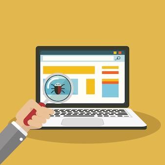 Procurando por bug, lupa de vírus com computador