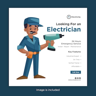 Procurando por um modelo de design de banner de eletricista para mídia social com eletricista e uma furadeira