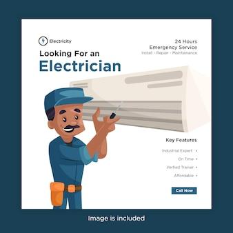 Procurando um design de banner de eletricista para mídia social com eletricista consertando o ar condicionado