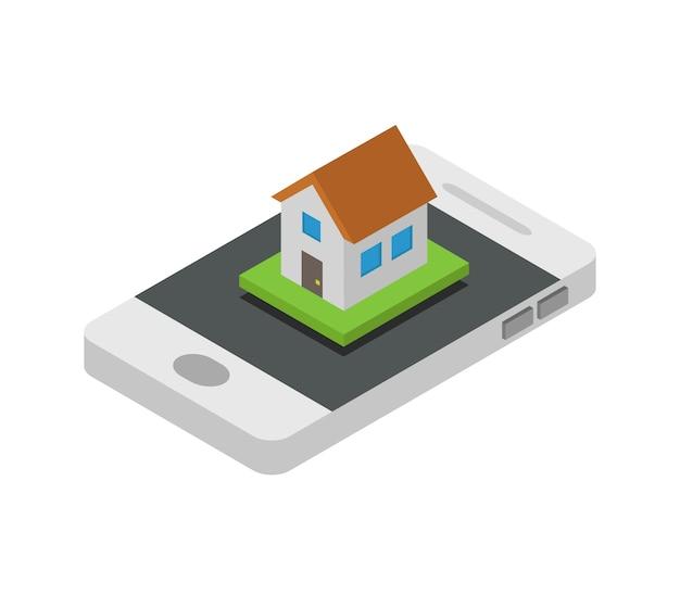 Procurar casa em smartphone isométrico