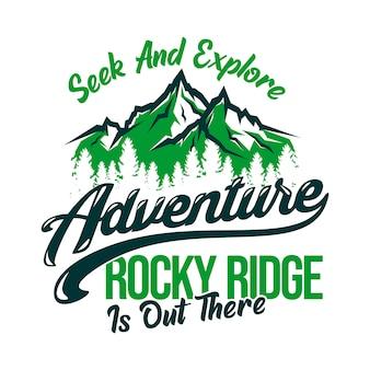Procure e explore cume rochoso de aventura está lá fora.