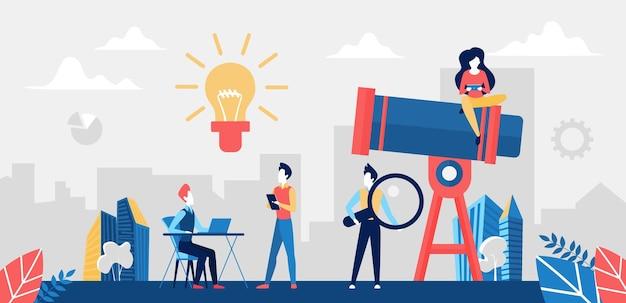 Procure o conceito de ideia de negócio de sucesso com telescópio