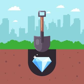 Procure tesouros no solo. desenterre um diamante no solo com uma pá. ilustração plana